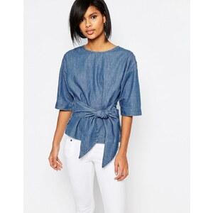 Vero Moda - Top en jean à manches kimono - Bleu