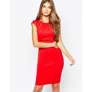 City Goddess - Robe mi-longue avec mancherons et encolure plissée - Rouge