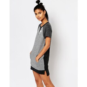 Nike - Robe t-shirt à motif color block - Gris