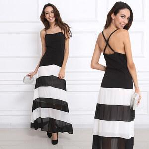 Lesara Ärmelloses Abendkleid in A-Linie - Schwarz-Weiß - S