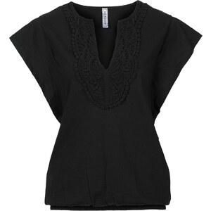 RAINBOW T-shirt à empiècement crochet noir manches courtes femme - bonprix
