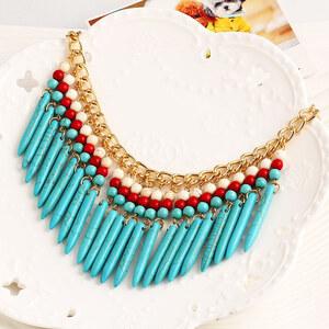 Lesara Statement-Halskette mit Stäbchen - Türkis