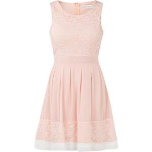 Apricot Kleid mit fixiertem Bindegürtel