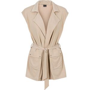 BODYFLIRT Gilet avec ceinture tissu beige sans manches femme - bonprix