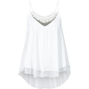 BODYFLIRT Top à paillettes blanc sans manches femme - bonprix