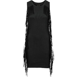 RAINBOW Shirtkleid mit Fransen ohne Ärmel in schwarz von bonprix