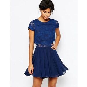 ASOS - Mini robe en dentelle avec top court - Bleu marine