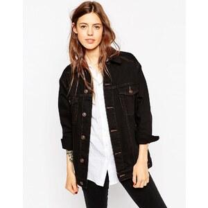 ASOS - Veste en jean style girlfriend - Noir à surpiqûres contrastantes - Noir