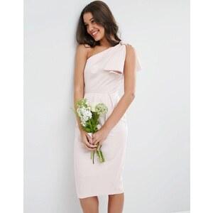 ASOS WEDDING - Robe asymétrique avec nœud structuré - Rose