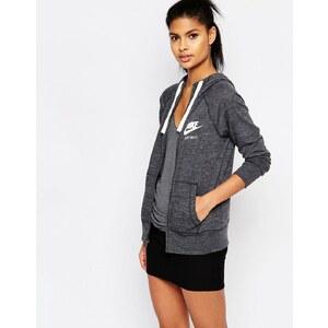 Nike - Sweat à capuche en tissu délavé style vintage avec fermeture éclair et petit logo - Gris