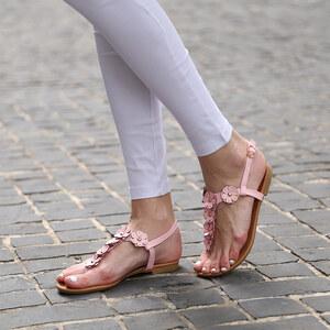 Lesara Zehentrenner-Sandale mit Blumen-Applikationen - Rosa - 35