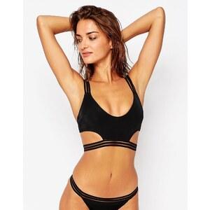 ASOS - Top de bikini court à découpes et rayures effet flammé - Noir