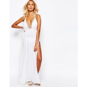 ASOS - Maxi-Strandkleid mit Gitterbesatz und V-Ausschnitt - Weiß