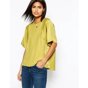 ASOS - T-shirt à empiècements mats et brillants - Vert