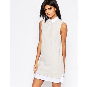 ASOS - Robe droite style chemise - Gris