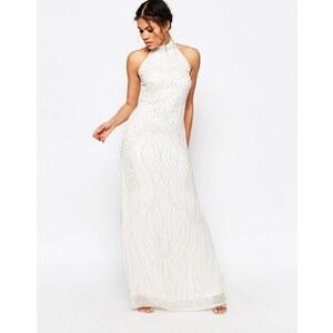 Glamorous - Maxi robe dos nu ornée de perles - Blanc