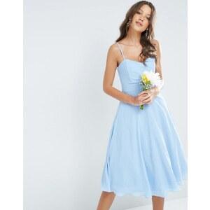 TFNC Tall WEDDING - Robe de bal de fin d'année coupe bandeau mi-longue en mousseline - Bleu