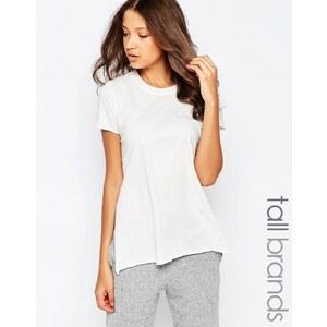 Y.A.S Tall - Kurzärmeliges T-Shirt mit seitlichen Bindebändern - Weiß