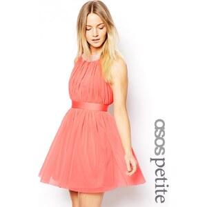 ASOS PETITE - Exklusives, verziertes Neckholder-Kleid mit Trägern - Korallenrot
