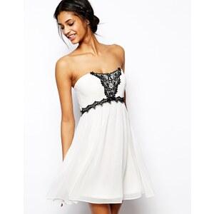ASOS - Trägerloses Kleid mit Spitzenverzierung - Grau