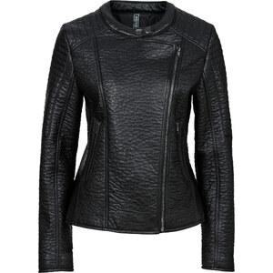 RAINBOW Veste biker synthétique imitation cuir noir manches longues femme - bonprix