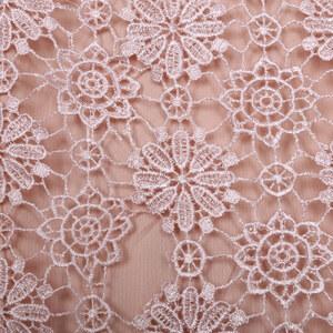 Lesara Kleid mit floralem Spitzen-Überwurf - Nude - S