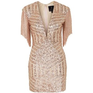 Topshop **Plunge Fringe Sequin Mini Dress by Rare - Gold