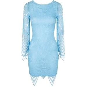 Topshop **Spitzen-Minikleid mit Muschelrand von Rare - Blau
