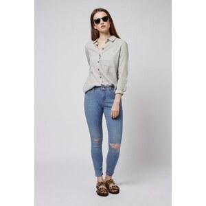 Topshop Graue MOTO Leigh Jeans im Destroyed-Look Petite-Größe - Stone Gebleicht