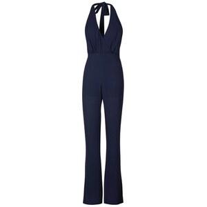 Topshop **Jupitor Chiffon-Jumpsuit mit Nackenträger von Goldie - Blau