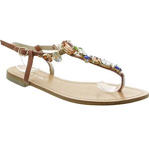 Lesara Zehentrenner-Sandale mit Schmuckelementen - Rosa - 40