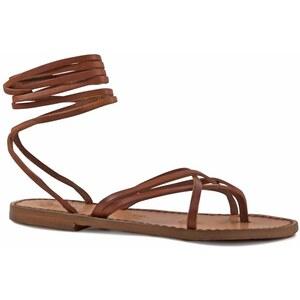 Gianluca - L'artigiano del cuoio Spartiates sandales femme artisanales fait en Italie en Cuir vieilli