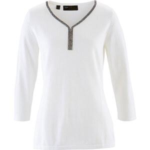 bpc selection premium Pull en coton Pima blanc manches 3/4 femme - bonprix