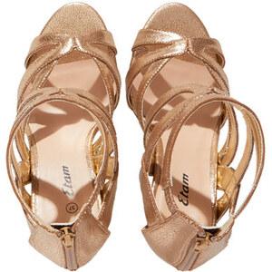 Sandales dorées à talons Etam