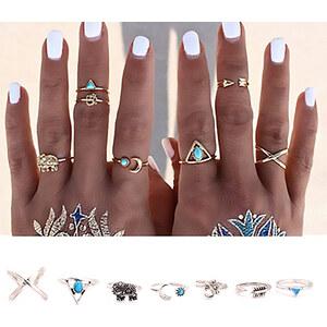 Lesara 7-teiliges Ring-Set im Ethno-Design - Silber