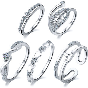 Lesara 5-teiliges Ring-Set mit Strass - Silber