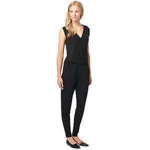 TOM TAILOR overall eleganter Jumpsuit aus Jersey für Frauen (unifarben, ärmellos mit tiefem V-Ausschnitt und kleinem Druckknopf vorne) aus Jersey mit Stretch-Ant