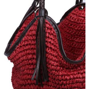 Lesara Bast-Strandtasche mit Fransen - Rot
