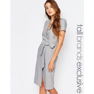 Alter Tall - Kurzärmliges Wickelkleid mit Taillenschnürung und Knopf - Grau