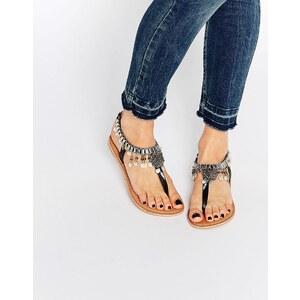 ASOS FOSSE Flache Sandalen mit Lederanhängern - Schwarz
