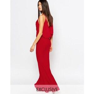 Club L - Maxi robe drapée sur le devant avec ourlet en pointe à l'arrière - Rouge