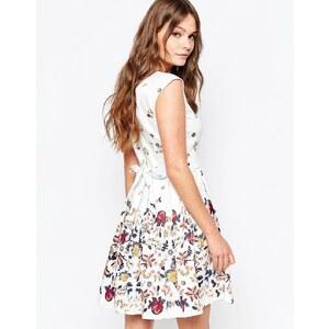 Closet London Closet - Robe à imprimé numérique bordure florale avec liens à nouer au dos - Blanc