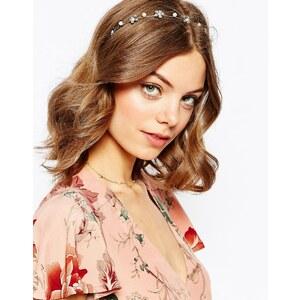 ASOS - Haarband mit Blümchen und Kunstperlen - Silber