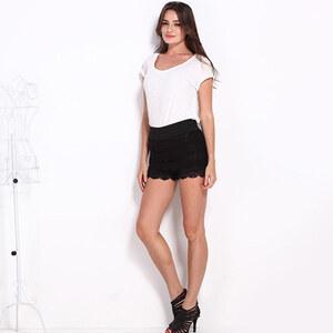 Lesara Shorts mit Rüschen - Schwarz - L