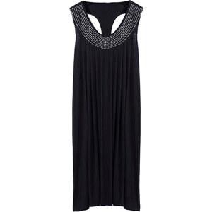 Lesara Kleid mit verziertem Ausschnitt - Schwarz - S
