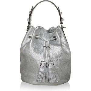 Abro Sacs à Bandoulière, Shimmer Bucket Bag Calf Leather Silver en argent
