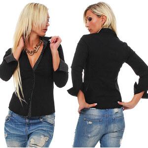 Lesara Damen-Bluse mit Pünktchen-Details - Schwarz - XL