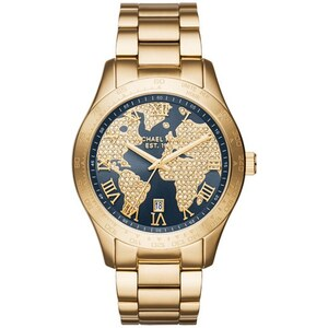 Michael Kors Montres, Layton Rhinestone Gold-Tone Grey Watch en or, gris