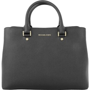 Michael Kors Sacs portés main, Savannah LG Leather Satchel Black en noir