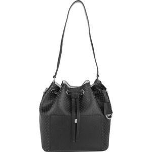 Michael Kors Sacs à Bandoulière, Greenwich MD Leather Bucket Bag Black/White en noir